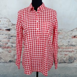 J. Crew S Red White Gingham Plaid Boy Fit Shirt